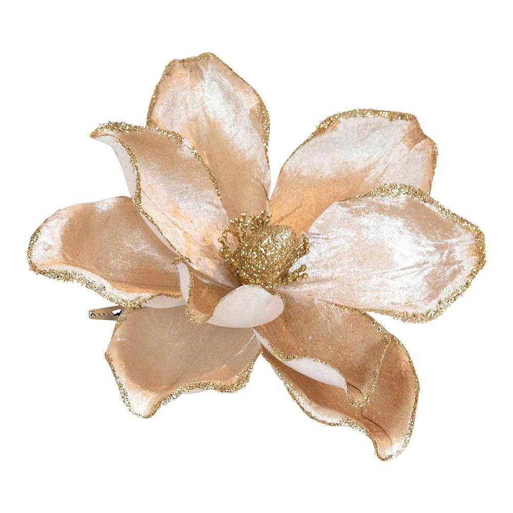 Cream And Champagne Clip On Magnolia Pick - My Christmas