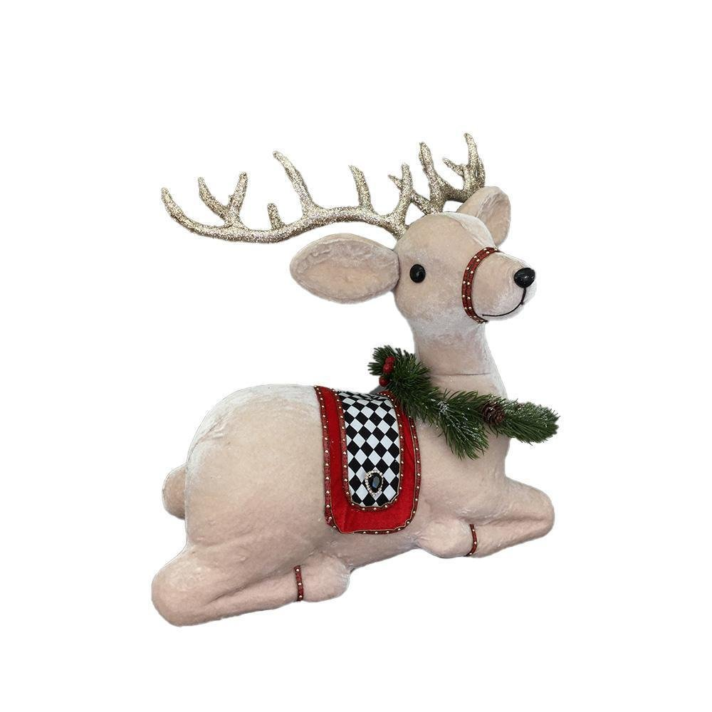 Cream, Black And Red Sitting Deer - My Christmas