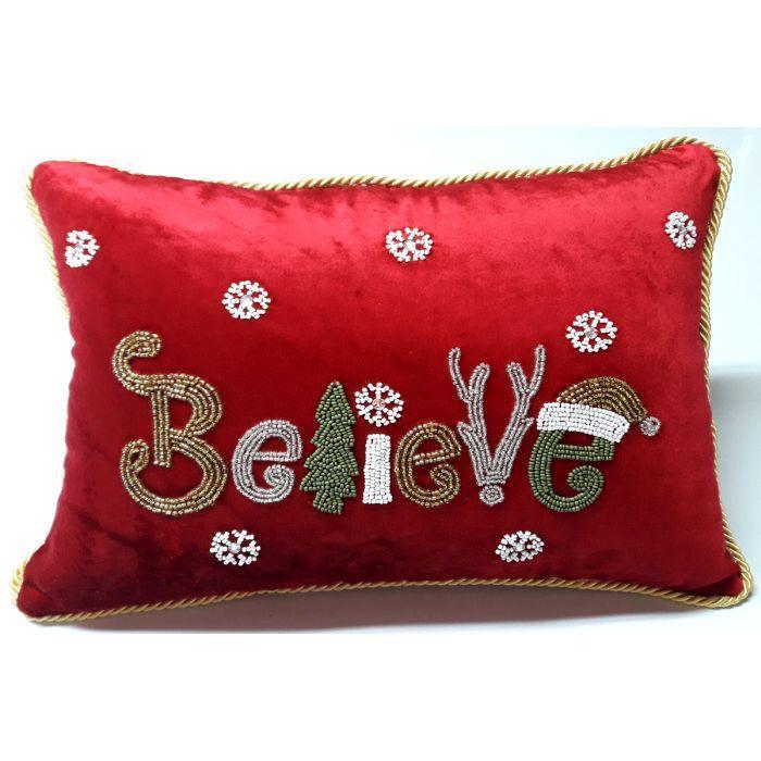 "Embroided ""Believe"" Pillow - My Christmas"
