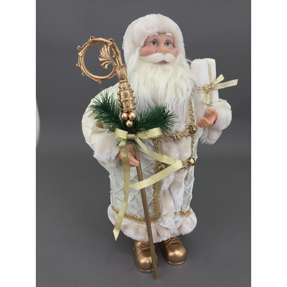 Free Standing Cream And Gold Santa, 30cm - My Christmas
