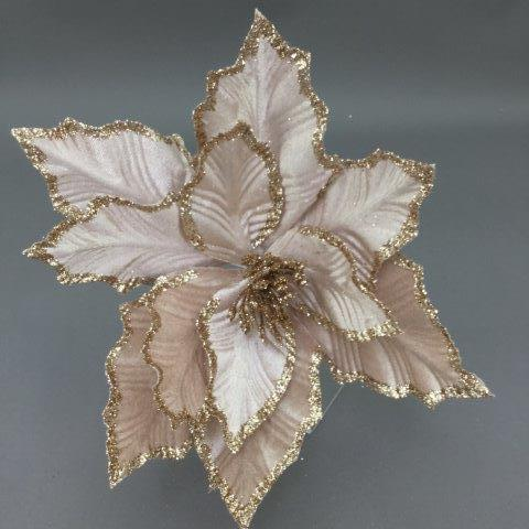 Frilled Rose Gold Poinsettia Pick - My Christmas