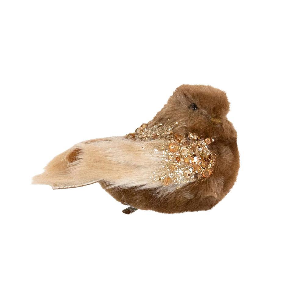 Fur Brown And Copper Clip On Bird - My Christmas