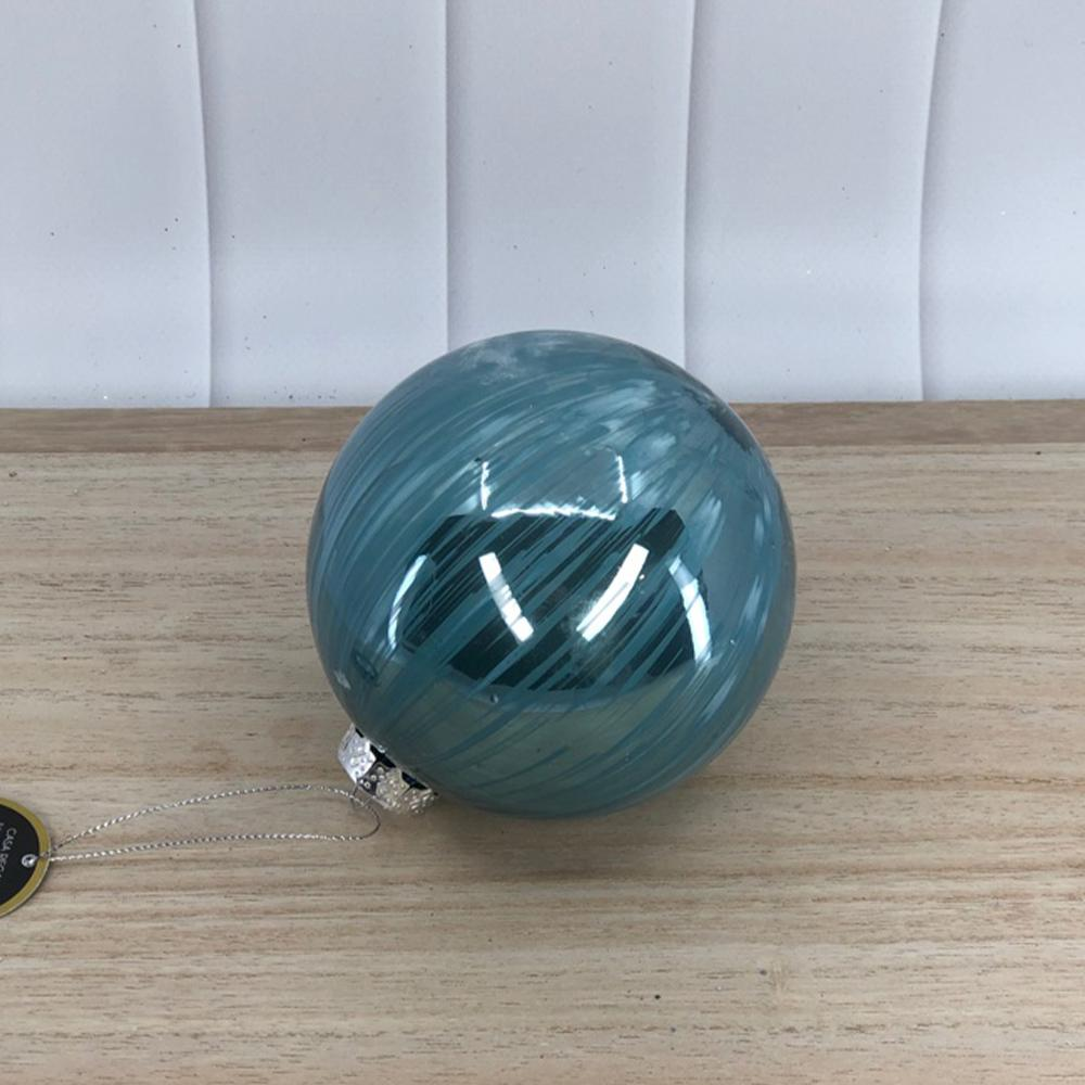 Glass Aqua Brushstroke Ball - My Christmas