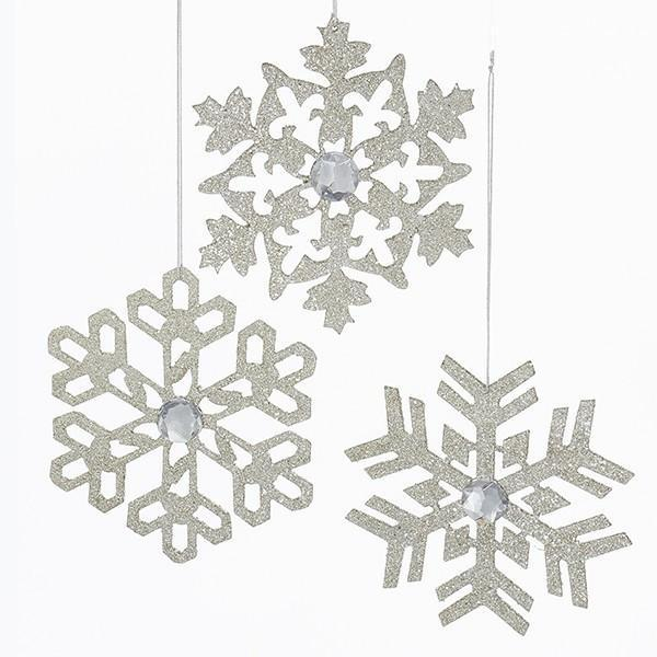 Glittered Snowflake with Gem - My Christmas