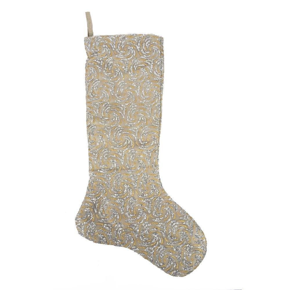 Gold And Silver Sheer Swirl Stocking - My Christmas