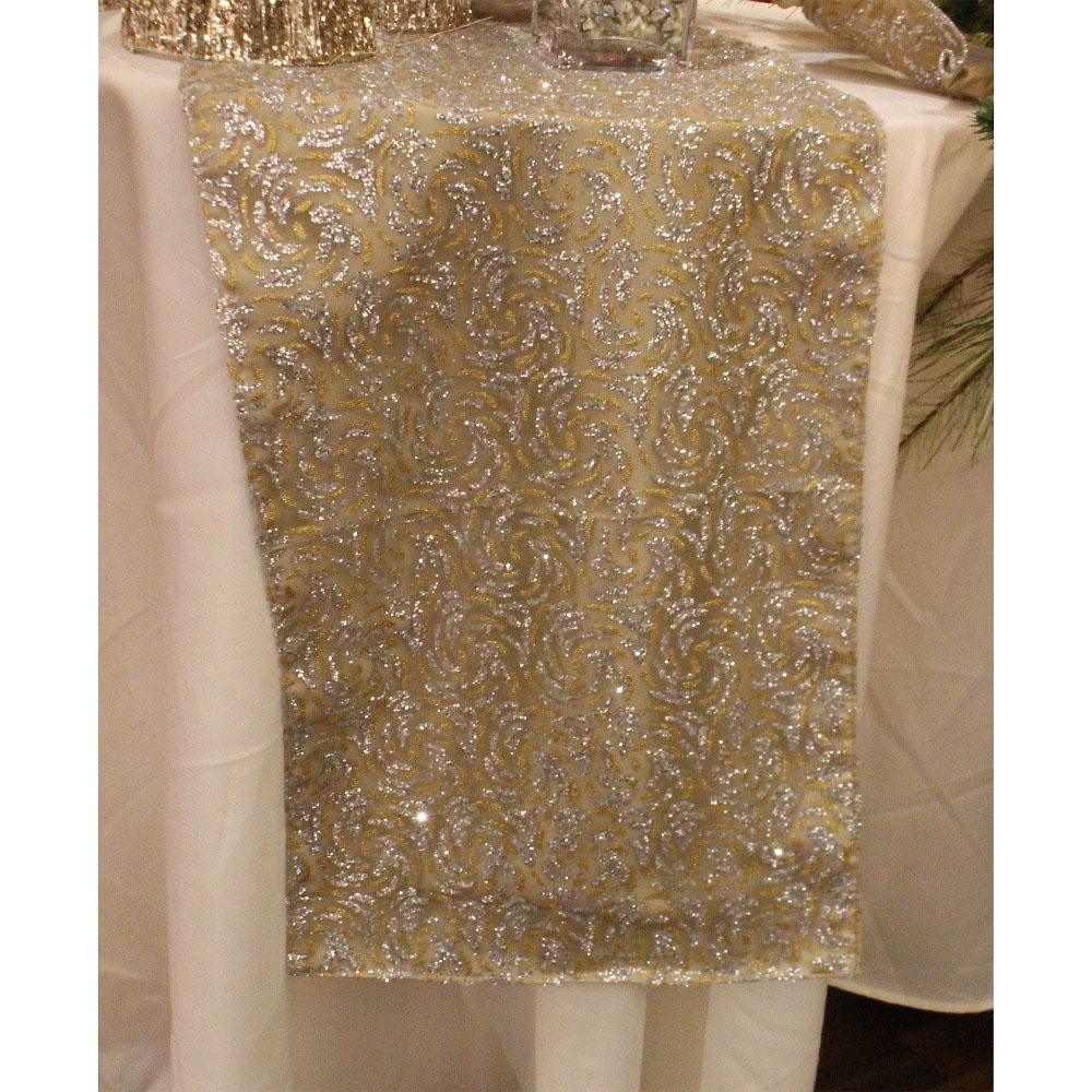 Gold And Silver Sheer Swirl Table Runner - My Christmas
