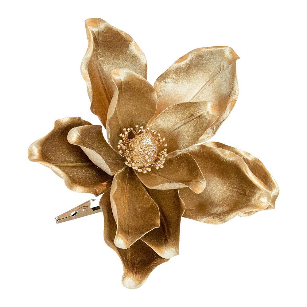 Gold Clip On Magnolia Pick - My Christmas