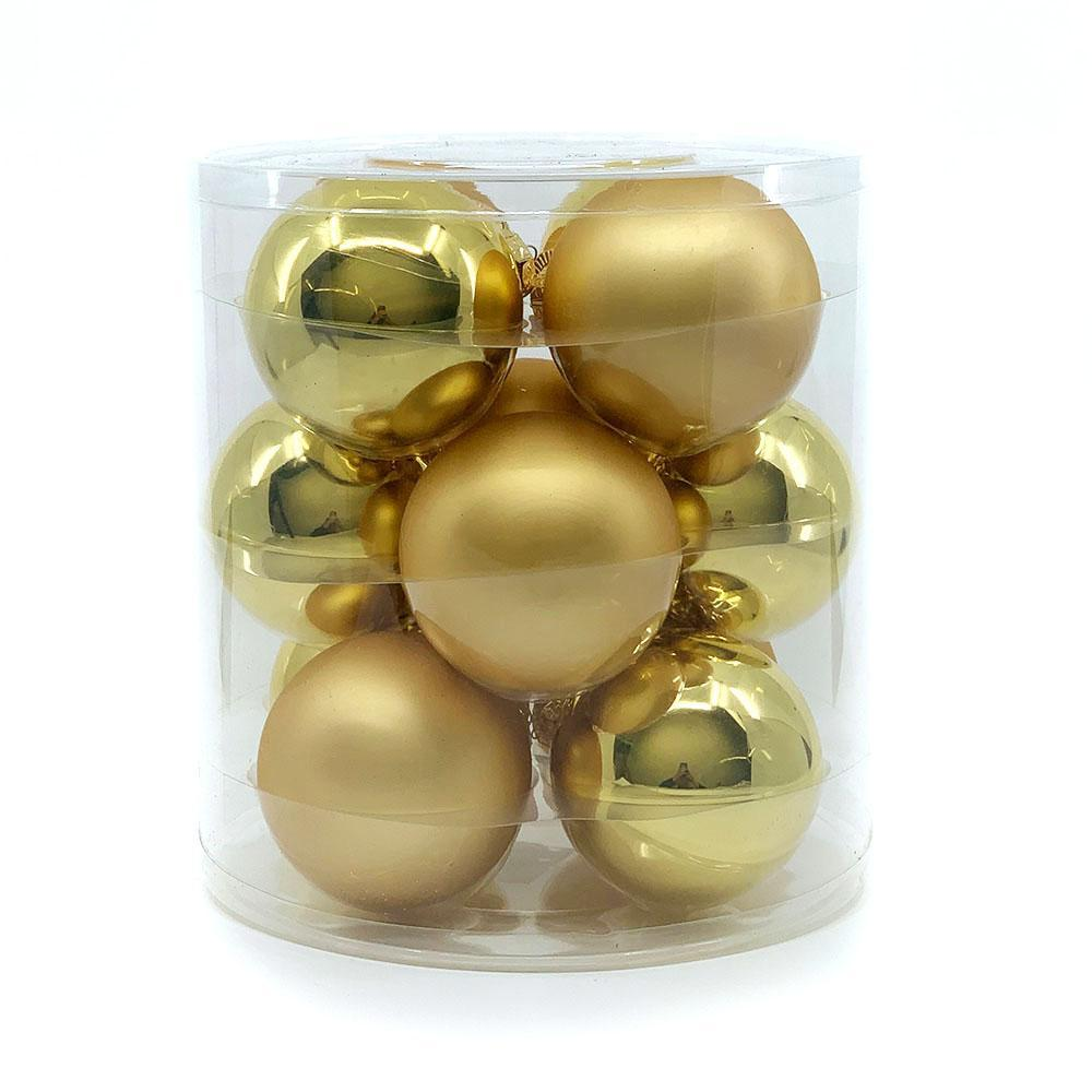 Gold Glass Bauble Pack, Various Sizes - My Christmas