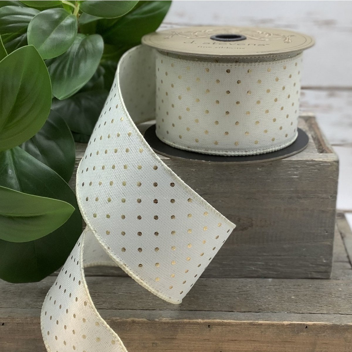 Gold / Ivory Dot Ribbon - My Christmas