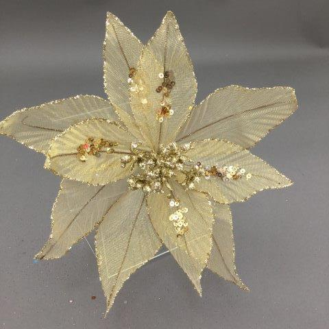 Gold Organza Poinsettia Pick - My Christmas