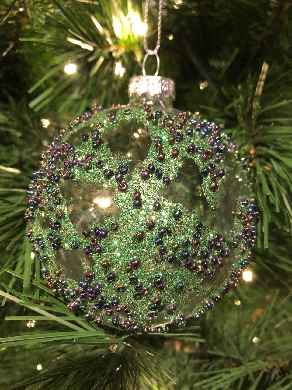 Green and Purple Beaded Clear Ornament - My Christmas