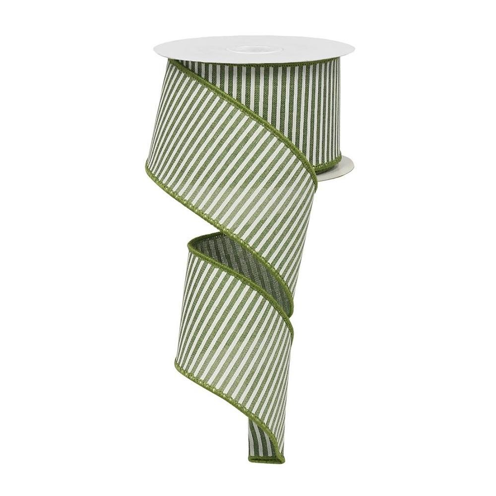 Green And White Stripe Ribbon - My Christmas