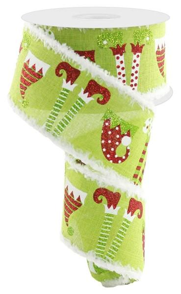 Green Elf Legs And Hats Ribbon - My Christmas