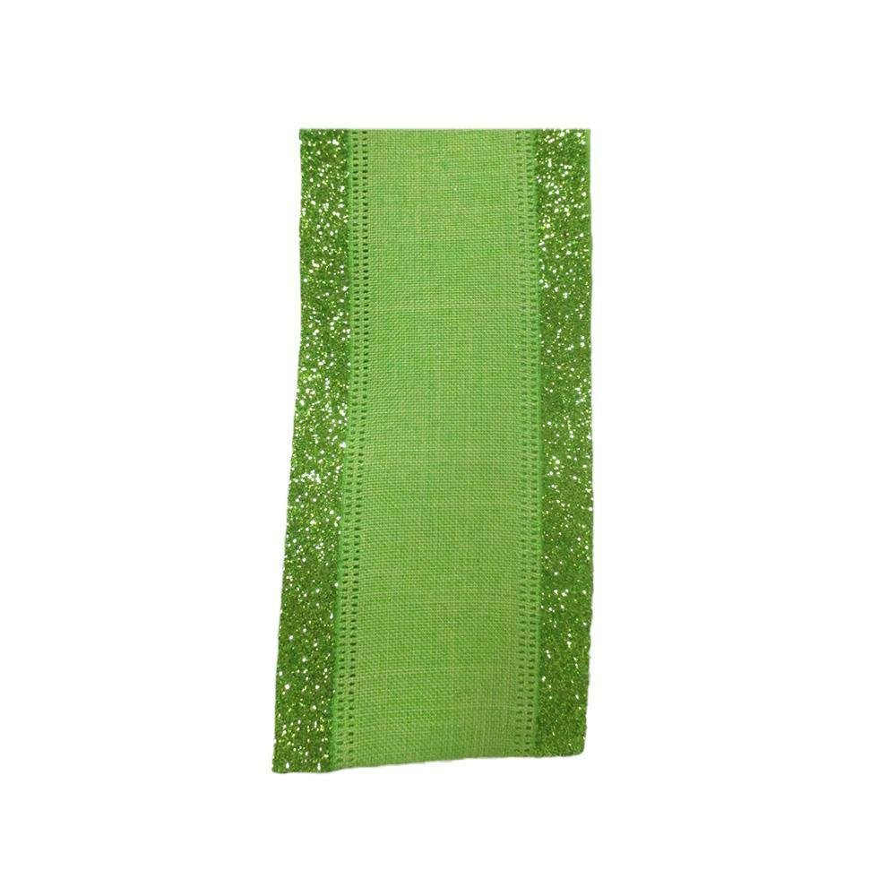 Green Linen With Glittered Edge - My Christmas