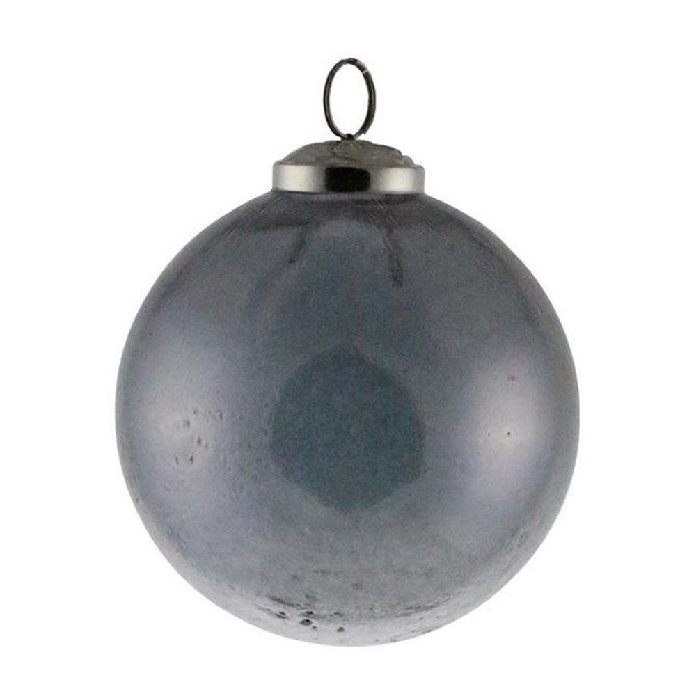 Grey Crinkle Glass Bauble - My Christmas