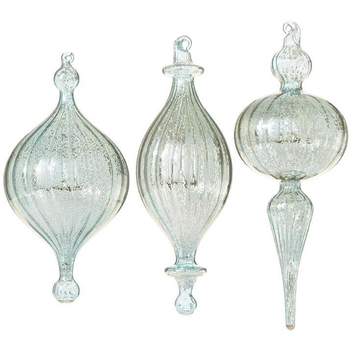 Grooved Hanging Finial Ornament, Mint - My Christmas