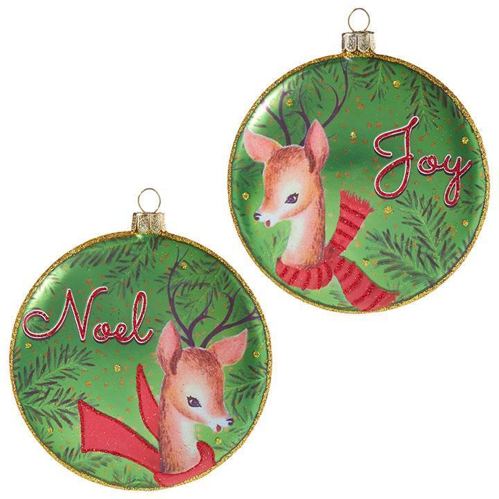 """Joy"" And ""Noel"" Disc Hanging Ornament - My Christmas"