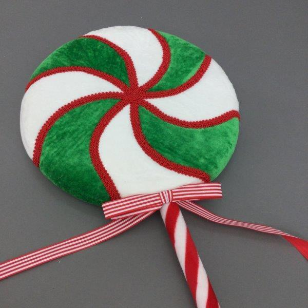 Lge Green White Swirl Lollypop - My Christmas