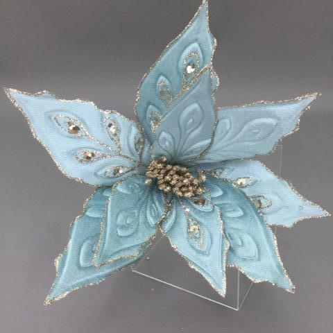 Light blue and Champagne Peacock Poinsettia Pick - My Christmas