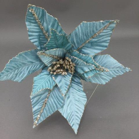 Light Blue and Champagne Poinsettia Pick - My Christmas