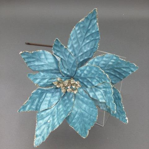 Light Blue and Gold Poinsettia - My Christmas