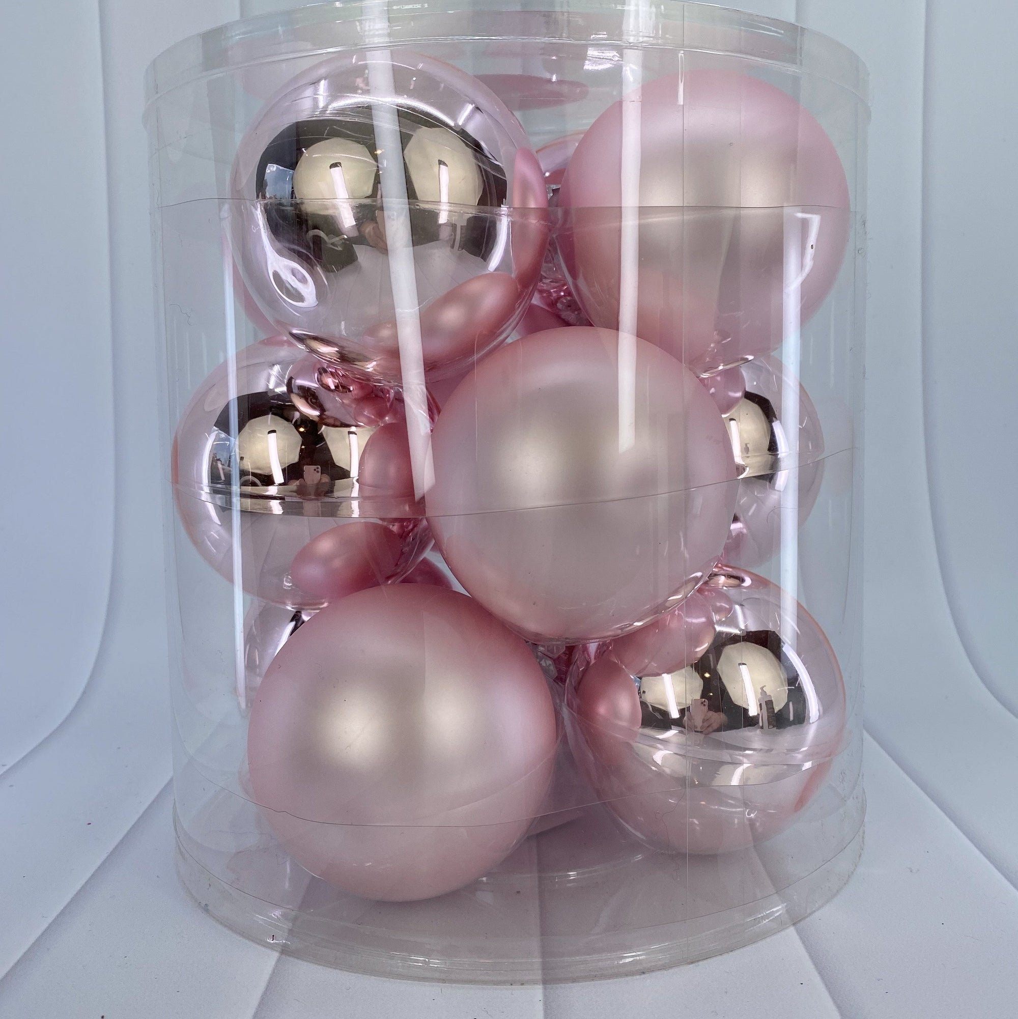 Light Pink Glass Bauble Pack, Various Sizes - My Christmas