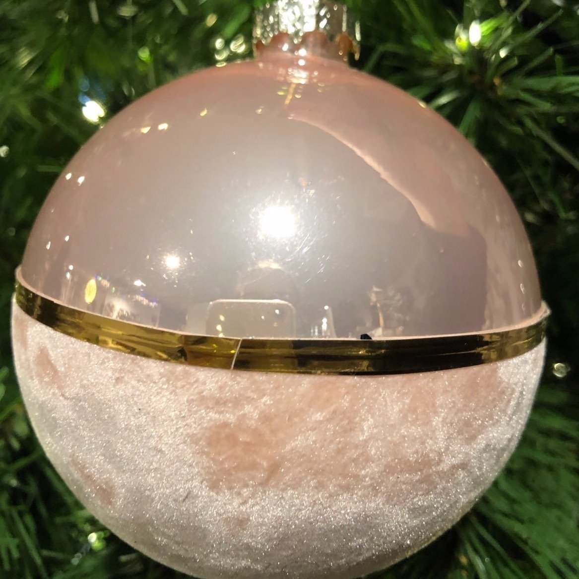 Light Pink Semi-Velour Bauble, 10cm - My Christmas