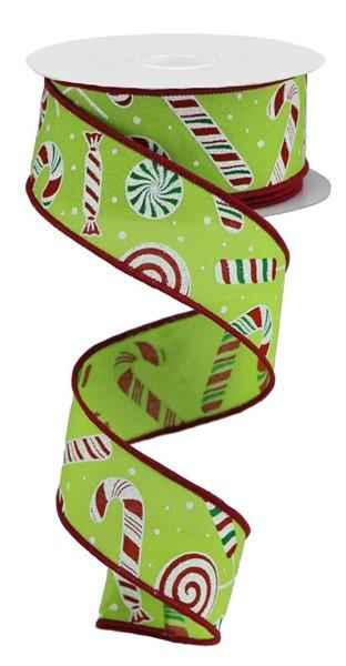 Lime And Red Candy Cane Ribbon - My Christmas