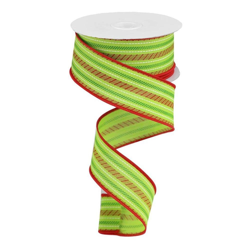Lime And Red Stipe Ribbon - My Christmas