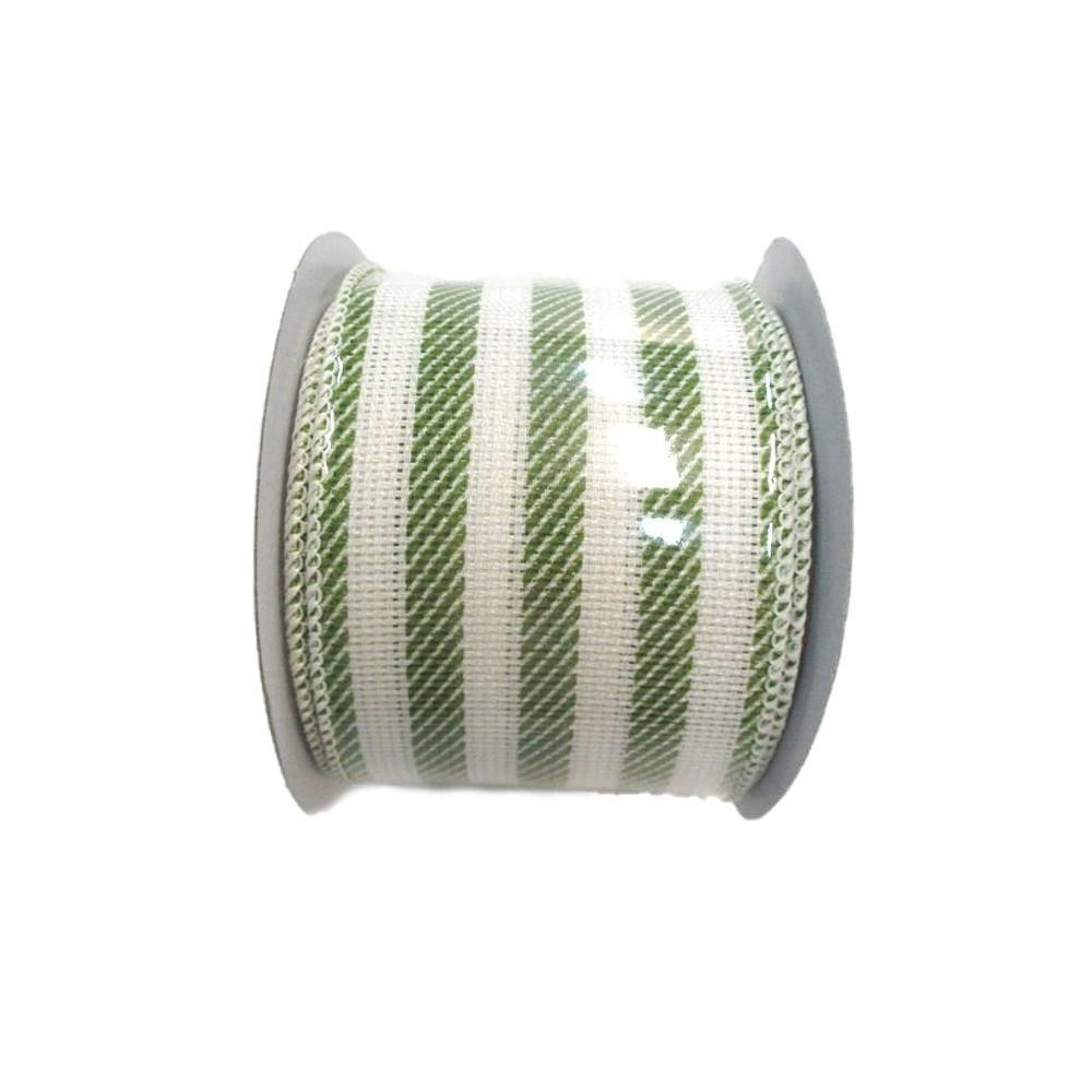 Lime And White Stripe Ribbon - My Christmas