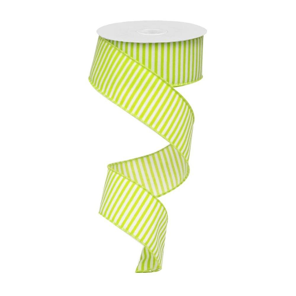 Lime Green / White Striped Ribbon - My Christmas