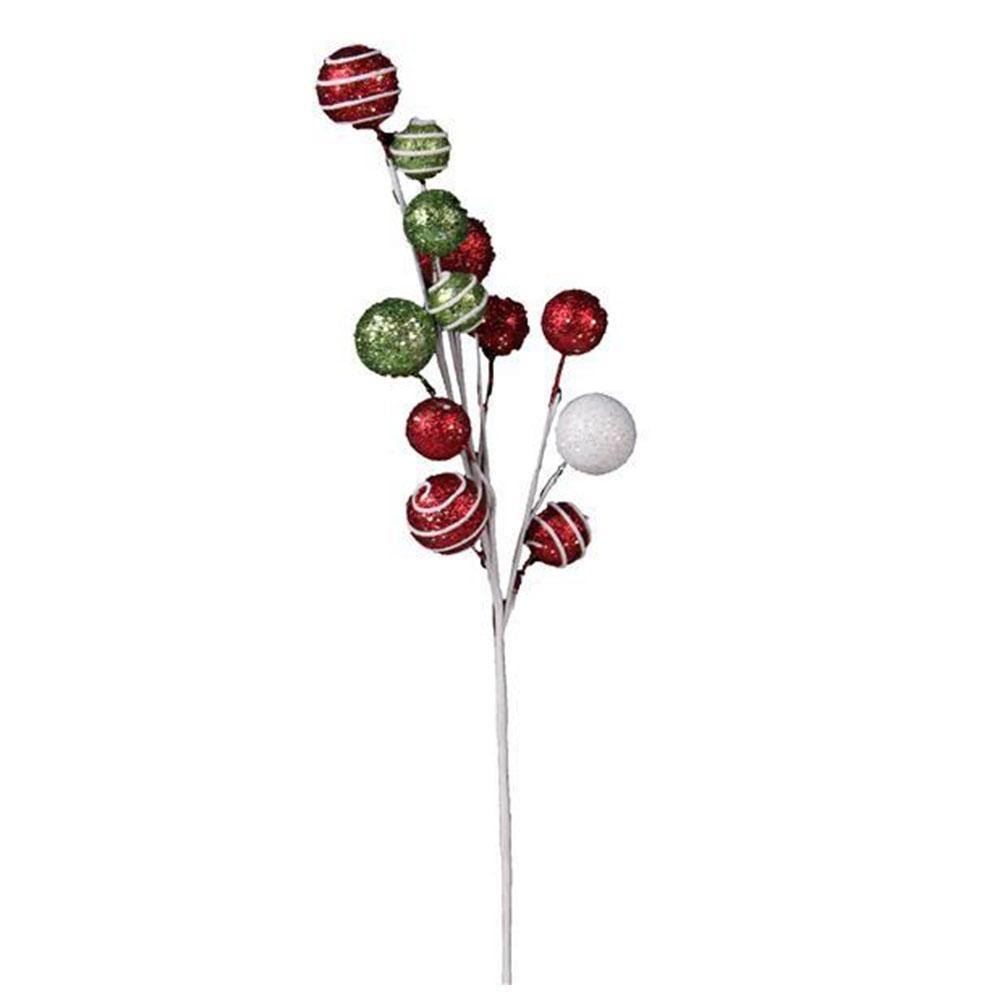 Lime, Red And White Ball Pick - My Christmas