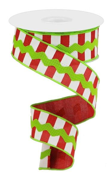 Lime, Red & White Stripe Ribbon - My Christmas