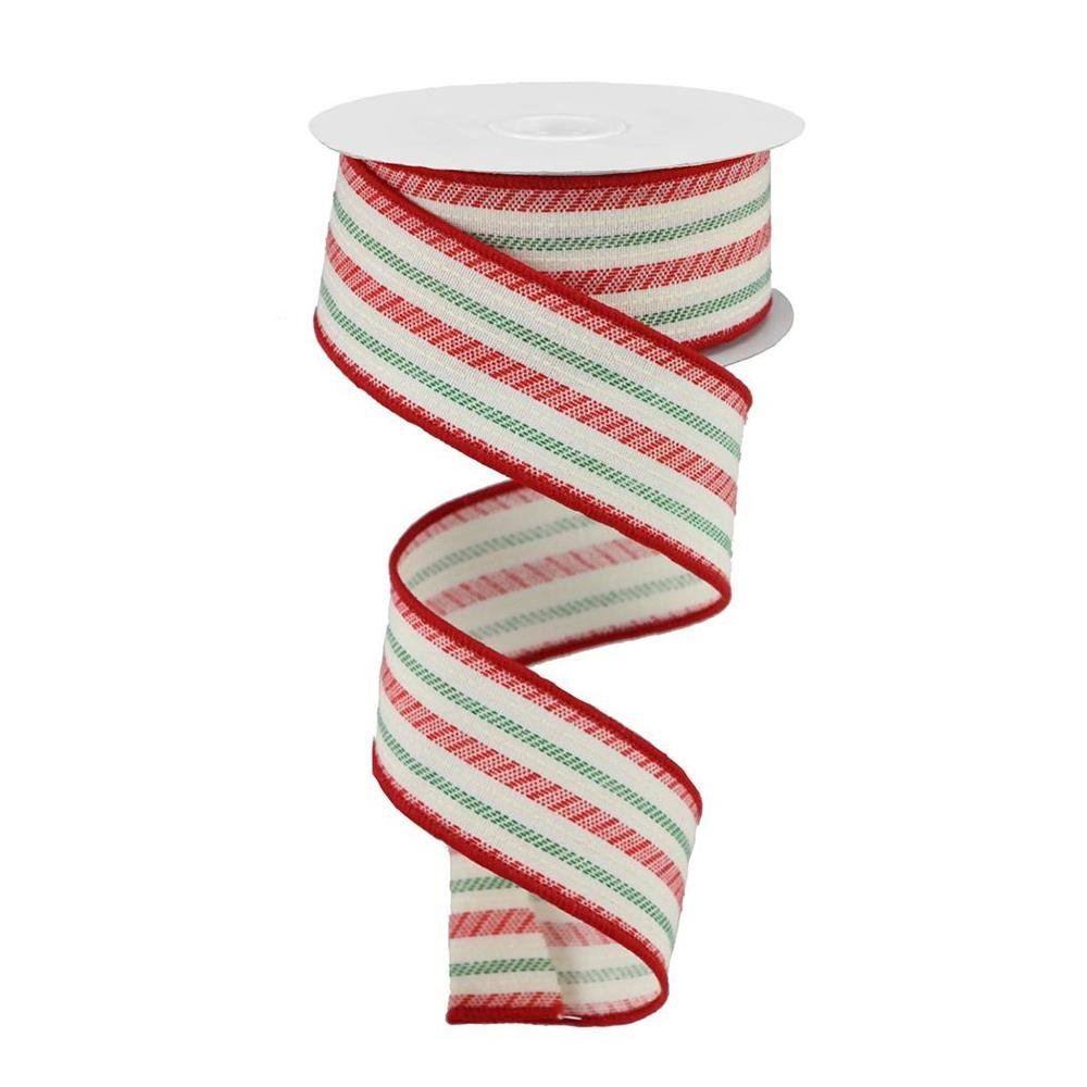 Lime, White And Red Stipe Ribbon - My Christmas
