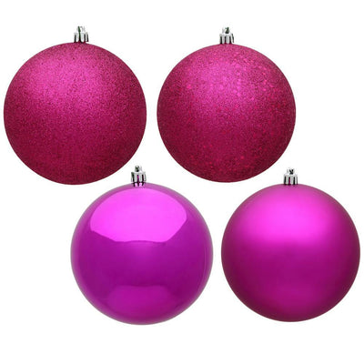 Magenta Shatterproof Baubles, 3 Sizes - My Christmas