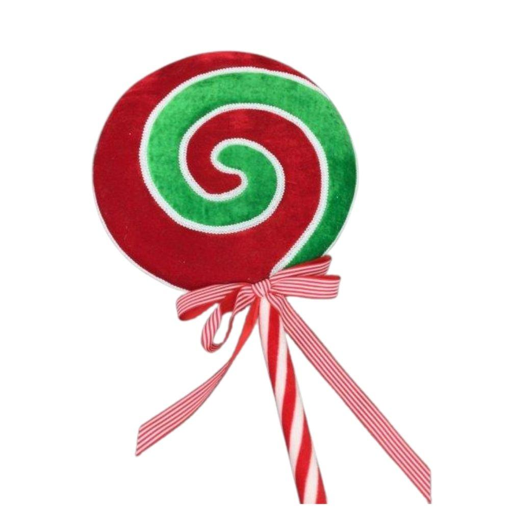 Med Red Green Curl Lollypop - My Christmas