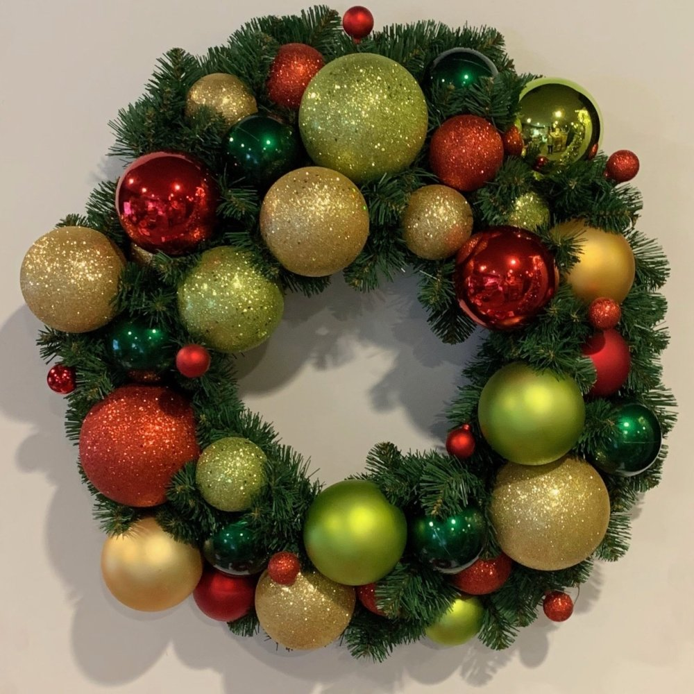 Medium Coverage Ball Wreath - My Christmas