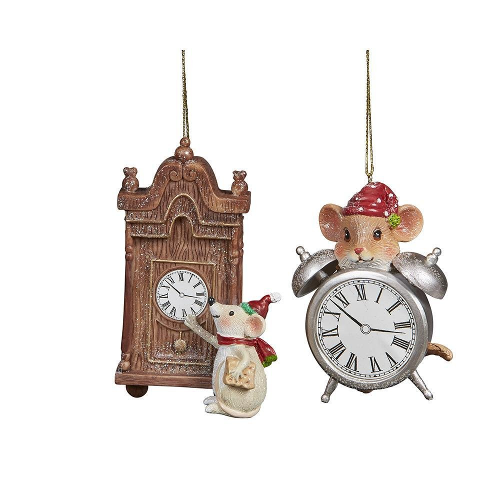 Mice With Clock Hanging Ornament - My Christmas