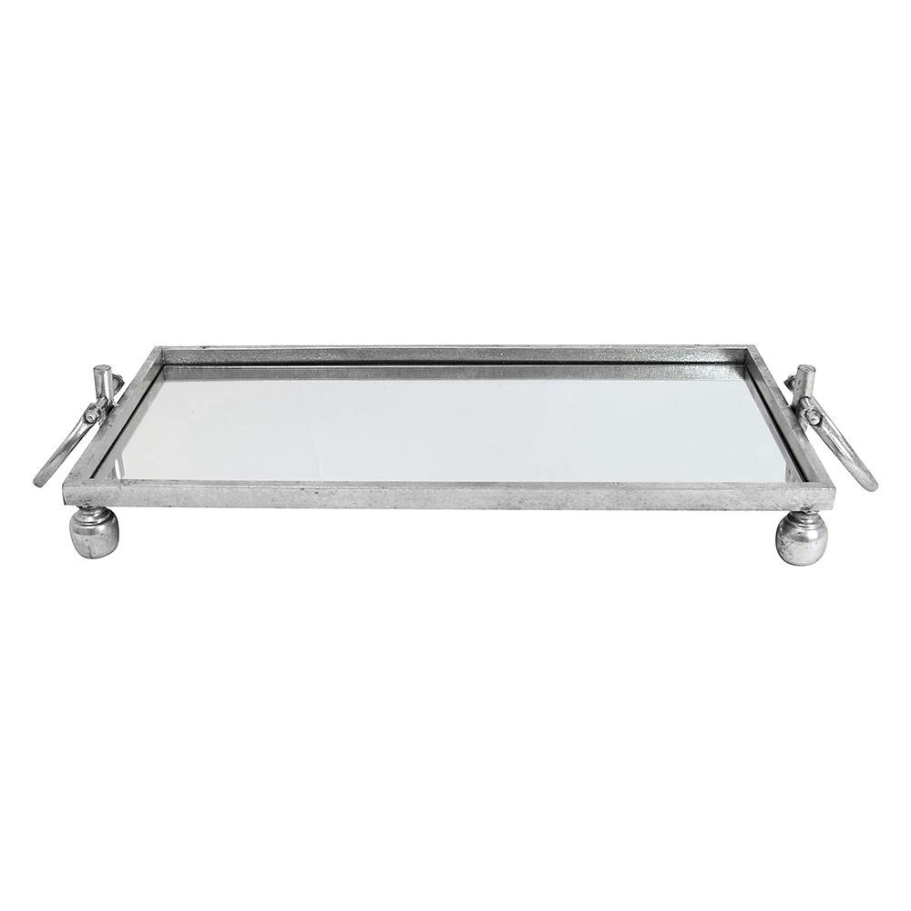 Mirrored Tray with Silver Trim. Large - My Christmas