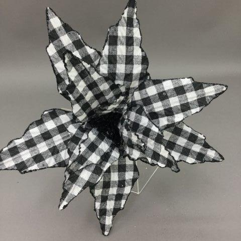 Natural Black and White Plaid Poinsettia Pick - My Christmas
