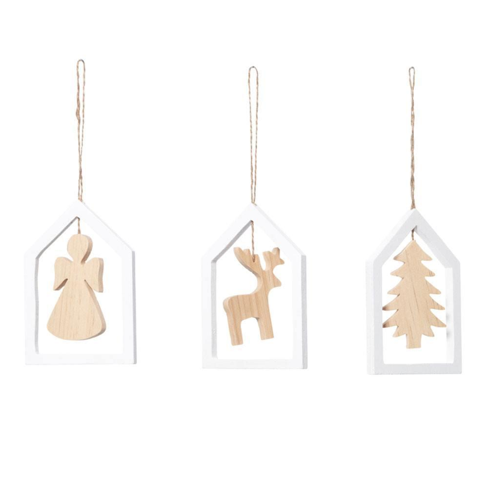 Natural & White Wooden Hanging Ornaments - My Christmas