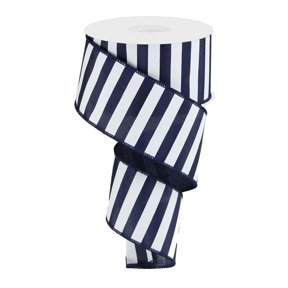 Navy And White Stripe Ribbon - My Christmas
