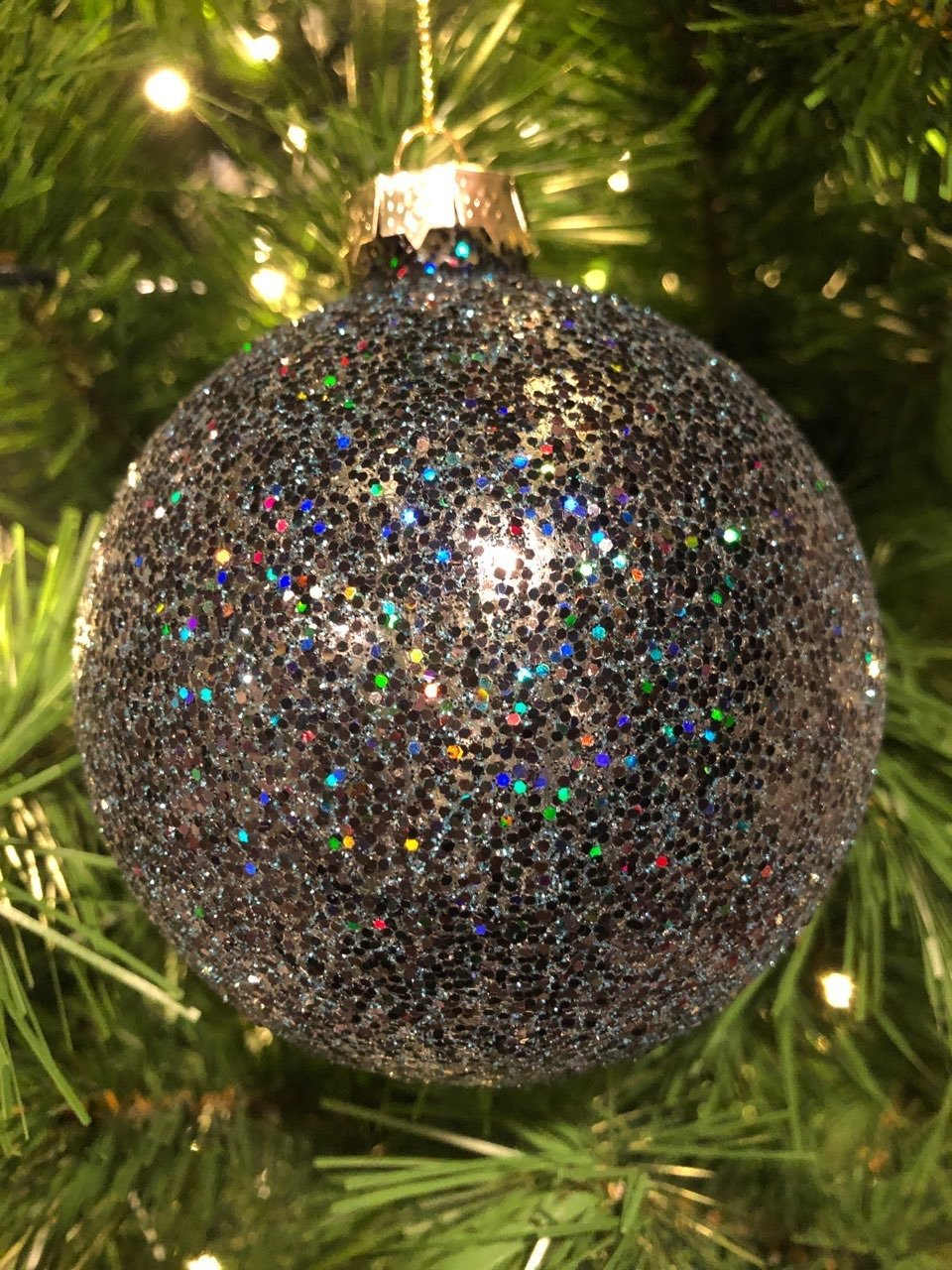Navy Holographic Glitter Ornament, 10cm - My Christmas