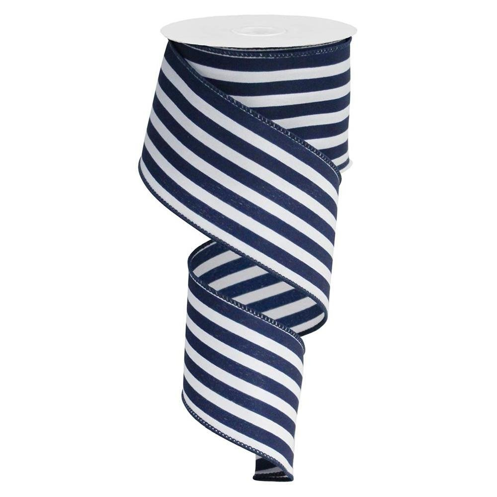 Navy / White Stripe Ribbon - My Christmas