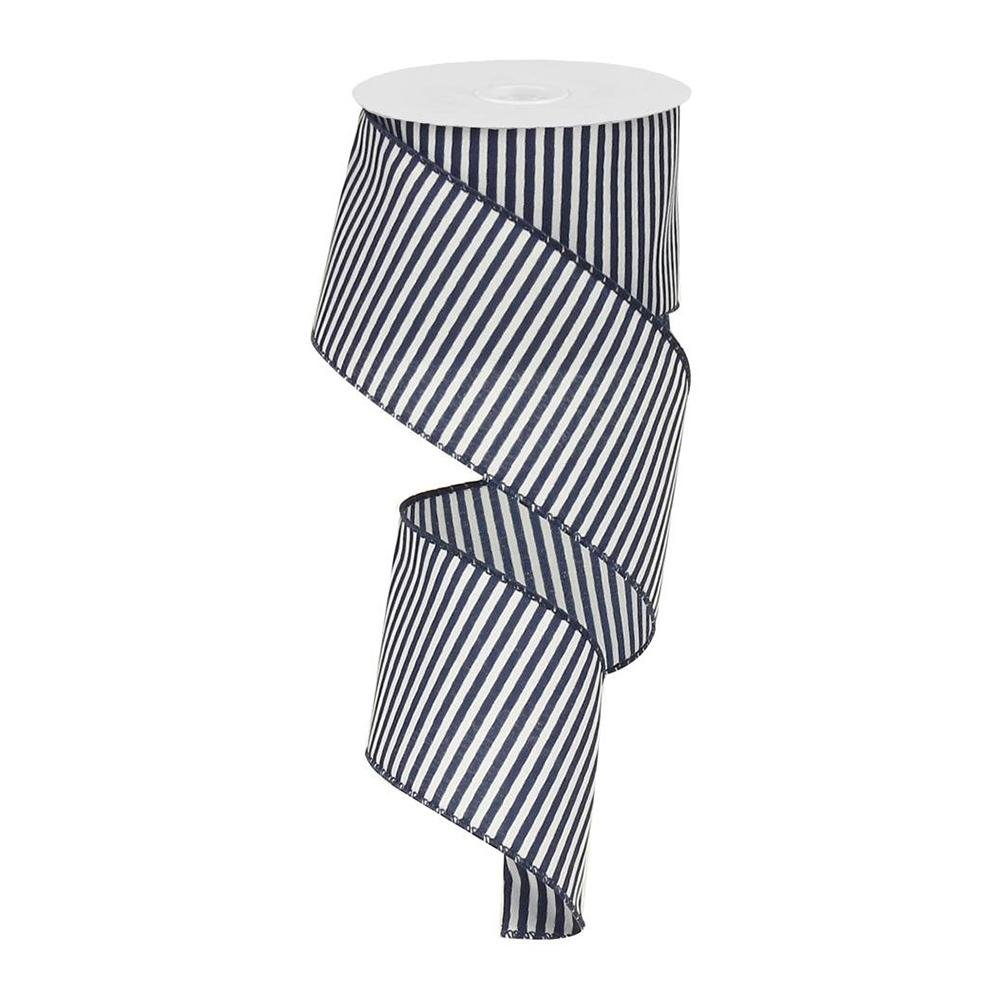 Navy / White Striped Ribbon - My Christmas