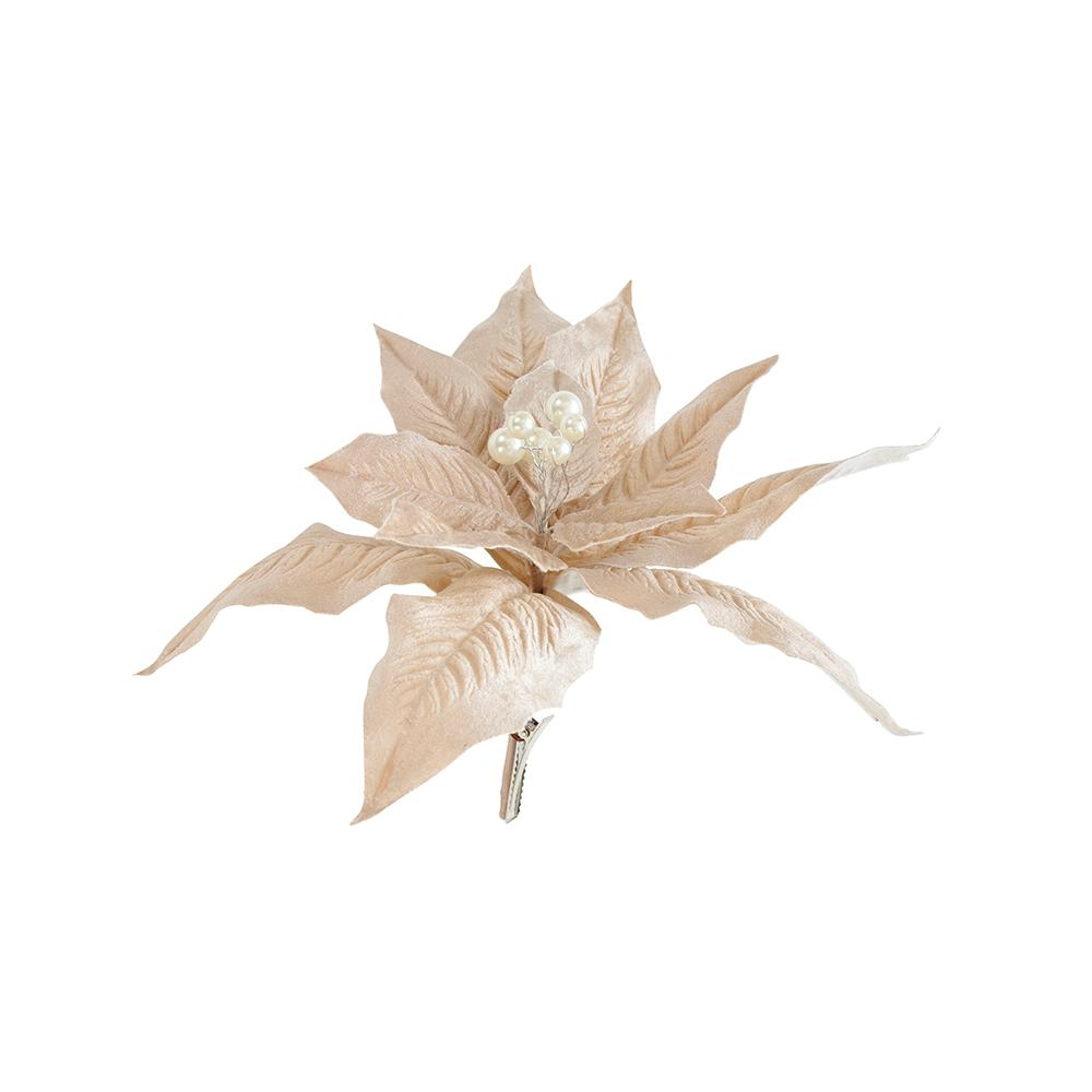 Nude Clip On Poinsettia Pick - My Christmas