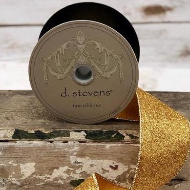 Old Gold Glitter Ribbon - My Christmas