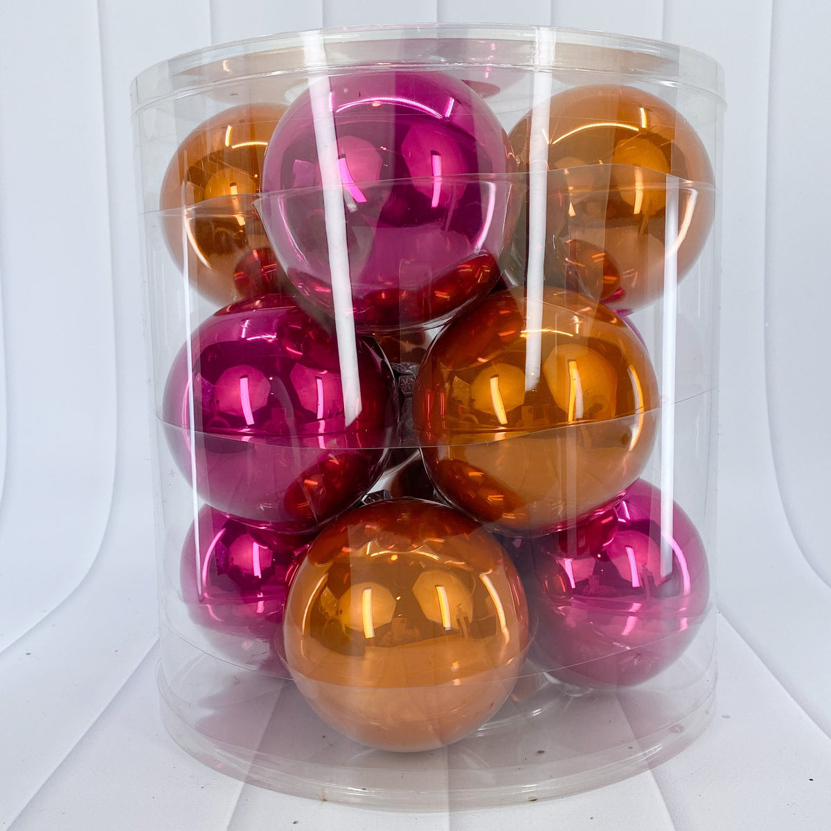 Orange and Pink Glass Bauble Pack, Various Sizes - My Christmas