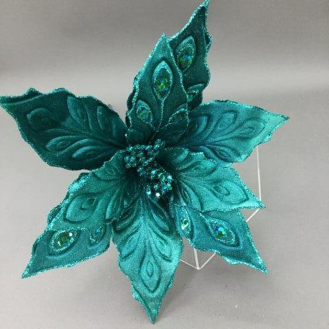 Peacock Teal Poinsettia - My Christmas