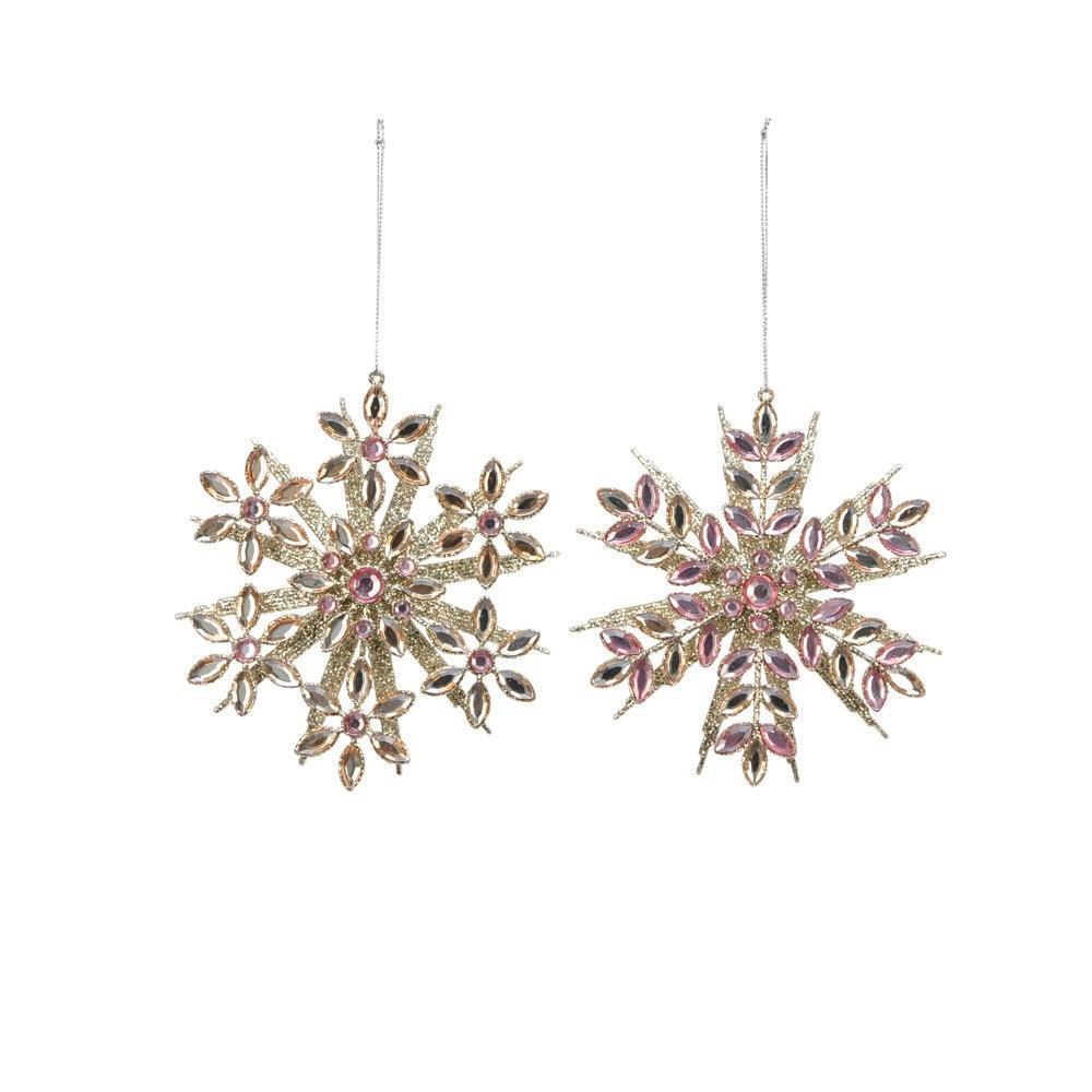 Pink and Gold Snowflakes Ornaments - My Christmas